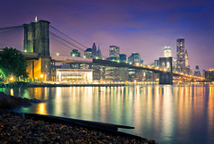 Bright City Lights (Sebastian (sibbiblue)) Tags: morning usa newyork skyline architecture sunrise twilight dumbo brooklynbridge brookyln 18105 pier17 nikond7000