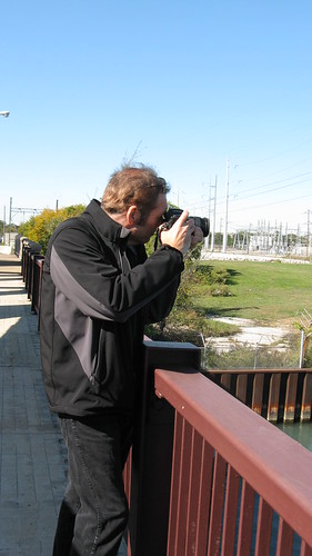 My good friend and fellow railfan buddy Anthony C, taking a photo from the East 103rd Street drawbridge over the Calumet River.  Chicago Illinois USA. Saturday, October 15th, 2011. by Eddie from Chicago