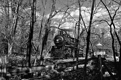 103 (Ivan Sorensen | www.ivansorensenphotography.com) Tags: trees light sky blackandwhite bw ontario canada monochrome station clouds forest train landscape woods nikon natural bright rustic hamilton historic locomotive steamengine hfg d90 niksoftware capturenx2 nikcep