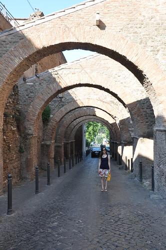 Roman arches alongside Chisea di SS Giovanni e Paolo