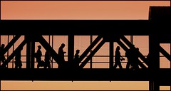 Walkers at the Train Station (greenthumb_38) Tags: california bridge silhouette walking walk pedestrian orangecounty walkers fullerton poeple pedestrianbridge jeffreybass