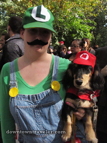 Tompkins Park Halloween Dog Parade_Dachshund as Mario and Luigi