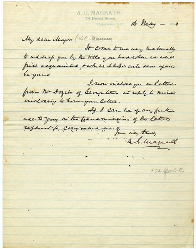 Letter from A.G. Magrath to W.C. Manning, 1883