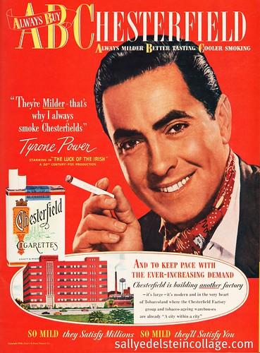Smoking Tyrone Power Chesterfield Ad 1948 Retro A Rama
