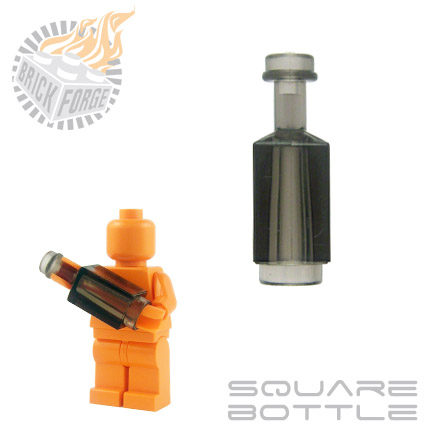 Square Bottle - Trans Black