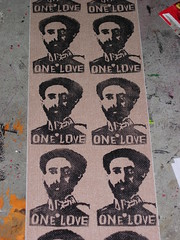 One Love (andres musta) Tags: love print one sticker stickerart block linoleum andres haile musta selasie