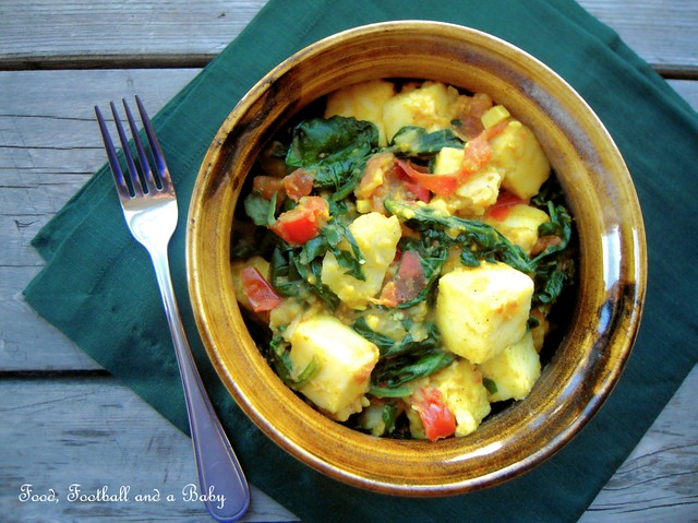 Paneer with Spinach, Tomatoes and Potatoes