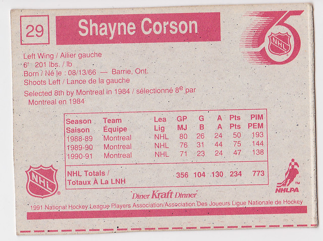 Kraft Dinner - Shayne Corson - Back