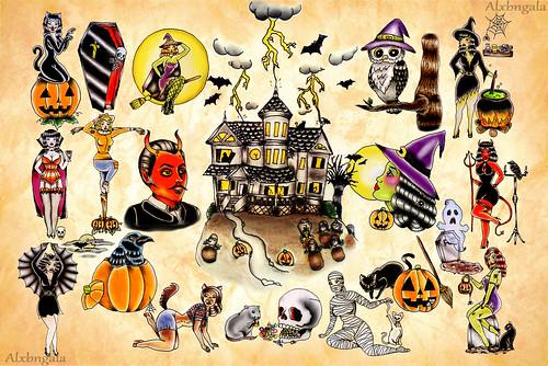 Small Halloween Tattoos Halloween Tattoo Flash by