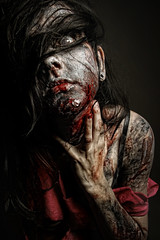 The Undead (Dar.shelle) Tags: fiction red portrait black halloween rotting canon blood zombie stevens makeup science fantasy gore 7d horror 430exii darshelle
