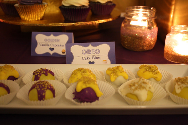 30th Birthday: Golden-Violet - Dessert & Party Table Theme - Oreo Cake Bites