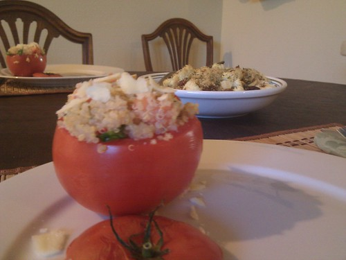 Stuffed Tomatoes and Cauliflower with Raisins