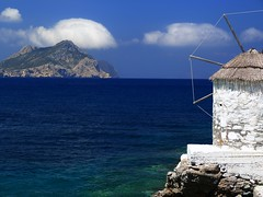 Cycladic scenery (Marite2007) Tags: amorgos aegiali islands cycladic greece windmill hills cliffs islet scenery blue mediterranean aegean marine sea view landscape nobody seascape scenic light cyclades blueandwhite water lpbright