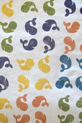 printing three: whales (imaginegnats) Tags: handmade fabric whales handprinted blockprinting fabricswap