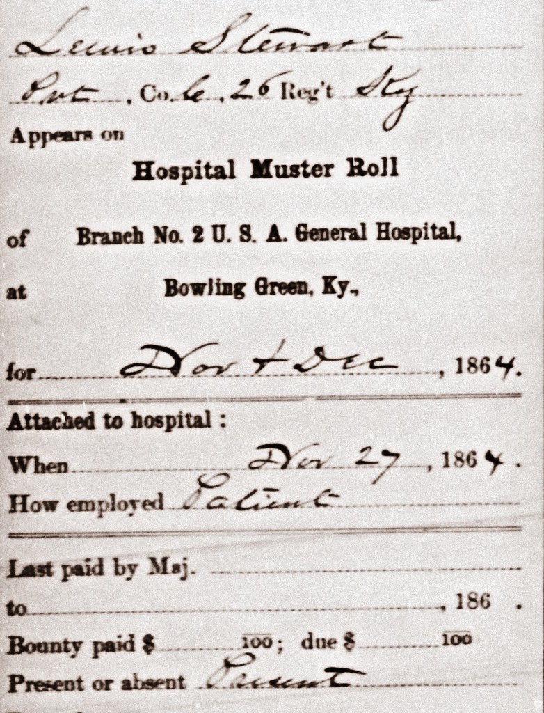 Lewis Stewart Civil War Hospital Muster Roll November and December 1864