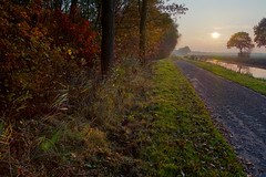 Autums Sunset (Jan Bol) Tags: road sunset tree netherlands canal groningen hdr foveon pitoresque veelerveen