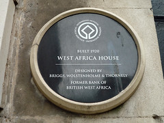 Photo of Henry Vernon Wolstenholme, Frank Gatley Briggs, Arnold Thornely, and Bank of British West Africa black plaque