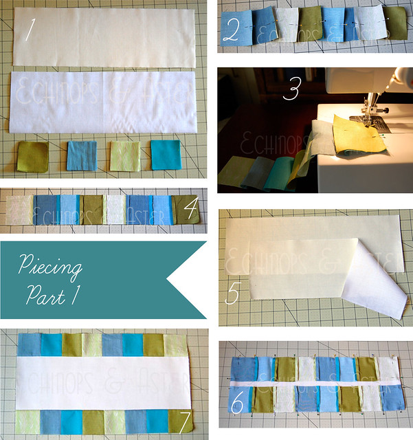 Piecing (part 1) for the Embroidered Snowflake Table Runner