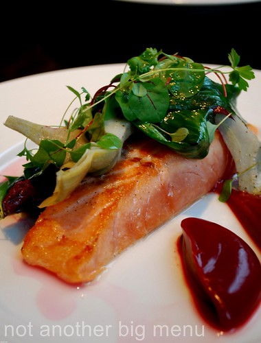 Dinner by Heston - Cured Salmon (c.1670) Beetroot, Sea Aster & Olive Oil