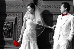 Wedding (Jammer 1970) Tags: door flowers wedding light red bw groom bride shadows dress prague tie marriage medieval czechrepublic selectivecolour blackwhitephotos