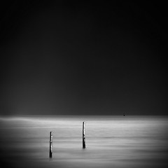 [ two posts ] (panfot_O (Bernd Walz)) Tags: ocean longexposure sea blackandwhite bw water monochrome square meer peace fineart peaceful calm minimal silence zen serenity serene minimalism solarization contemplation waterscape neutraldensityfilter waterspace