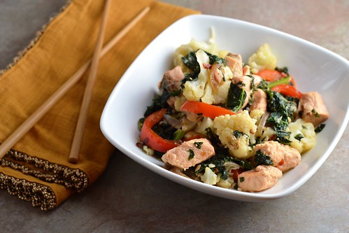 salmon, coconut, kale, cauliflower