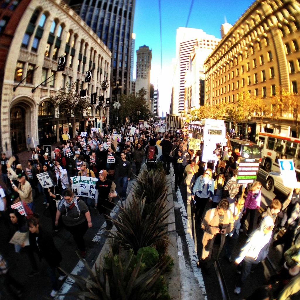 Phot from within the thick of the #occupysf march down Market.