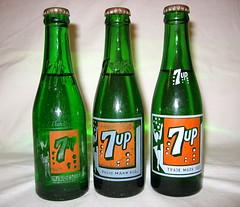 Rare A.L. VanValey  7up bottle on left (bottledale999) Tags: old green glass vintage bottle 8 pop bubble soda swimsuit rare 7up