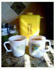 morning coffee vintage style (polly peachums) Tags: kitchen glass coffee yellow milk plastic mug blueberries pyrex glasbake lustroware