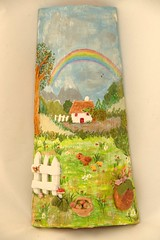 Despus de la lluvia (dmmalva) Tags: arcoiris landscape miniatures casa handmade artesanal paisaje bosque rbol campo handcrafted teja manzanas gallina tegole naif pollito tegola hechoamano tejadecorada