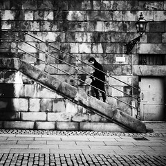 Urban Contrasts.. (Peter Levi) Tags: street city blackandwhite bw man blancoynegro stairs contrast square sweden stockholm streetphotography blackwhitephotos dblringexcellence asquaresuperstarstemple
