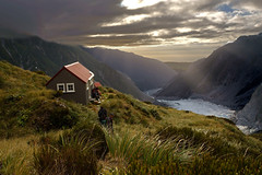 chancellor evening (go wild - NZ outside) Tags: park new light sea mountains beautiful landscape evening day cloudy historic glacier hut zealand national fox nz chancellor westland