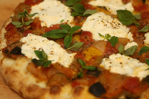 Stewed Summer Squash Pizza with Ricotta and Oregano