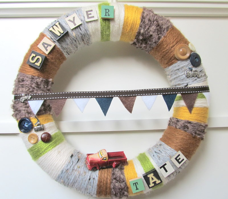 Handmade Yarn Wreath Custom Made for Nursery