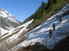 Crossing one of many snowfields above Ruthh Creek