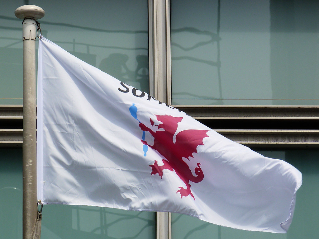 Somerset flag flying outside Eland House
