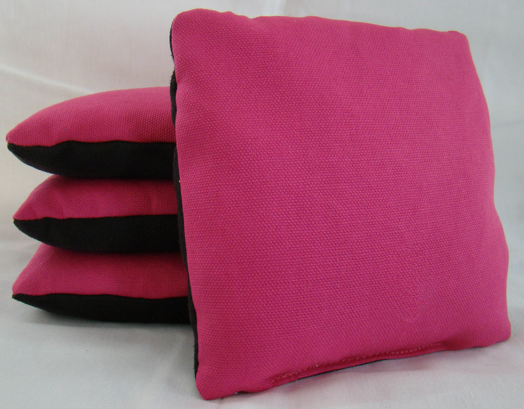 Hot Pink & Black Suede Dual Sided Cornhole Bags
