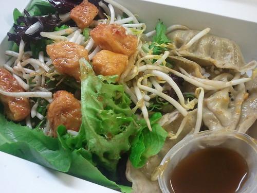 Vegetarian Edamame Dumplings and Soy-Sesame Salad
