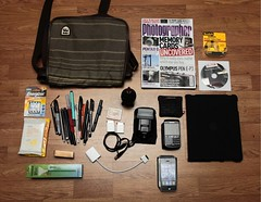 What's in my bag? (felt_tip_felon) Tags: pencils bag effects phone blackberry cd empty cables stuff whatsinyourbag pens magazines billabong satchel whatsinmybag contents belongings ipad wiyb iphone4