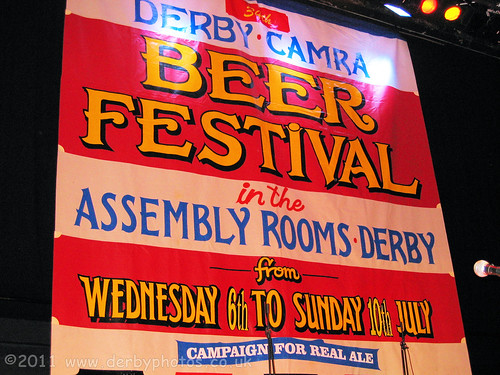 Derby Beer Festival sign on stage