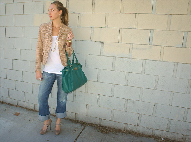 Tweed blazer with jeans outfit