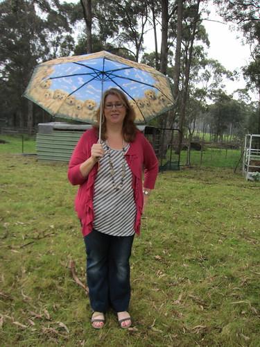 At the farm in the rain