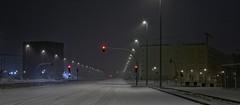 Red light (Julio López Saguar) Tags: madrid road street urban españa snow night landscape noche calle carretera empty nieve paisaje panoramic stop urbano redlight vacio semáforo sapin alcorcón panorámica juliolópezsaguar