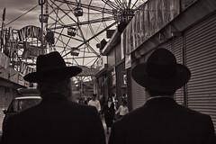"""We're on a mission from Yahweh."" (Barry Yanowitz) Tags: nyc newyorkcity blackandwhite bw ny newyork brooklyn coneyisland amusement blackwhite ride ferriswheel amusementpark rides gothamist amusements wonderwheel nycity amusementparks 718 denoswonderwheelamusementpark hasidicbluesbrothers"