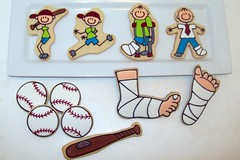 Broken Ankle Playing Baseball (Jill FCS) Tags: broken cookies cookie baseball bat cast bone crutches ankle