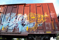 Soak (huntingtherare) Tags: train bench graffiti soak boxcar freight dwc benching