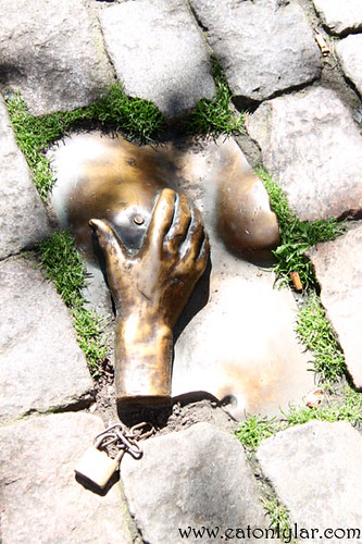 Hand on breast sculpture, Amsterdam