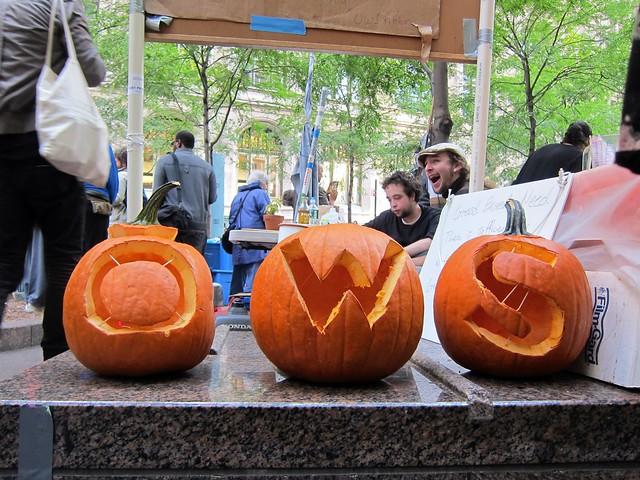 Occupy Wall Street: Day 38, Zuccotti Park, OWS pumpkins