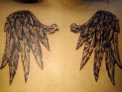 Ink Spot Tattoo, Mankato (Ink Spot Tattoo Mankato) Tags: tattoo wings feather illustrative tiny custom mankato blackandgrey inkspottattoo