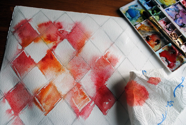 red diamonds blotting paint